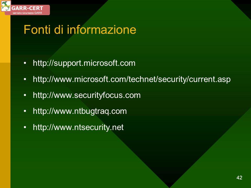 Fonti di informazione http://support.microsoft.com