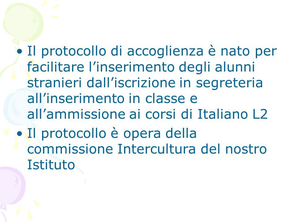 Il protocollo di accoglienza è nato per facilitare l'inserimento degli alunni stranieri dall'iscrizione in segreteria all'inserimento in classe e all'ammissione ai corsi di Italiano L2