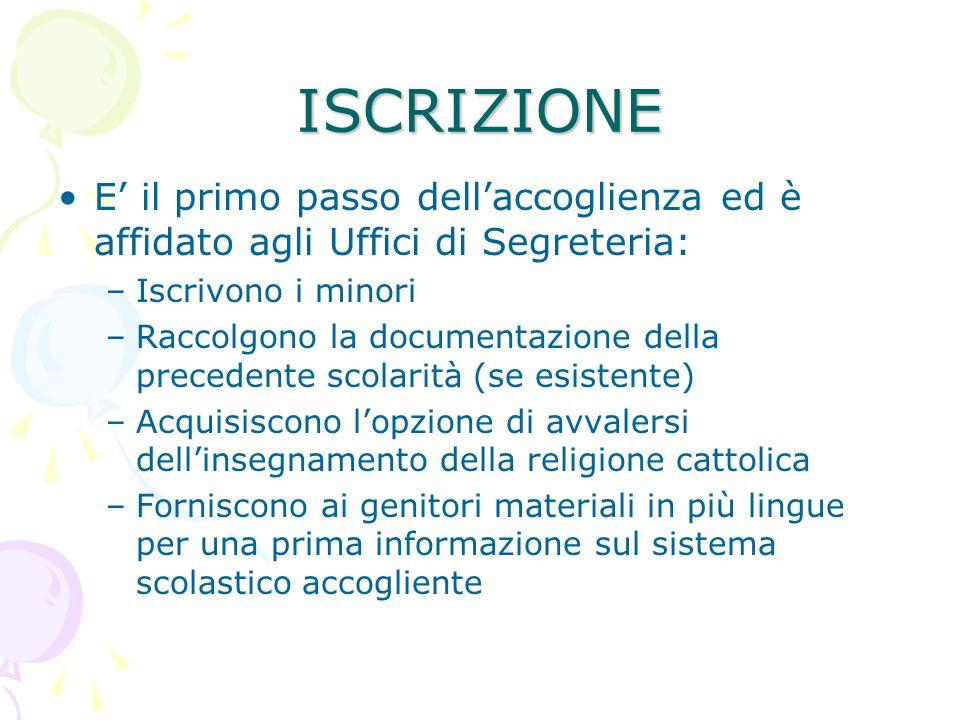 ISCRIZIONE E' il primo passo dell'accoglienza ed è affidato agli Uffici di Segreteria: Iscrivono i minori.