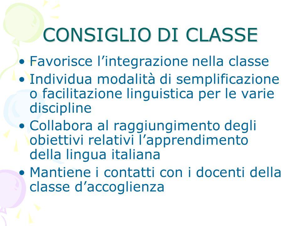CONSIGLIO DI CLASSE Favorisce l'integrazione nella classe