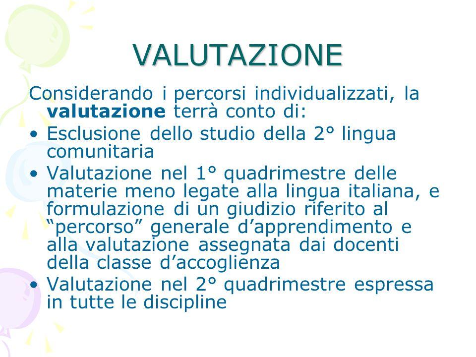 VALUTAZIONE Considerando i percorsi individualizzati, la valutazione terrà conto di: Esclusione dello studio della 2° lingua comunitaria.