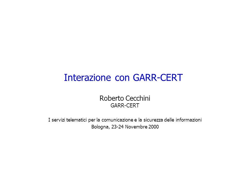 Interazione con GARR-CERT