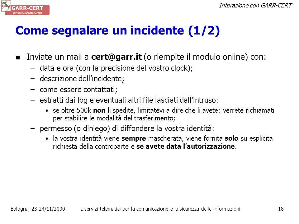 Come segnalare un incidente (1/2)