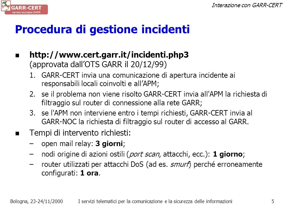 Procedura di gestione incidenti