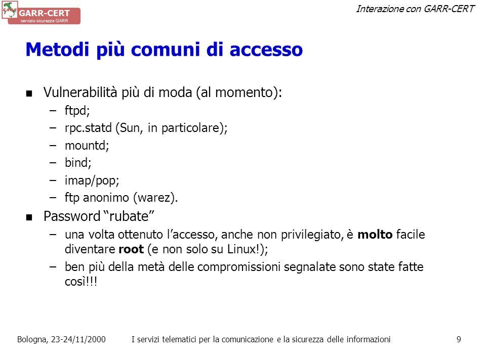 Metodi più comuni di accesso