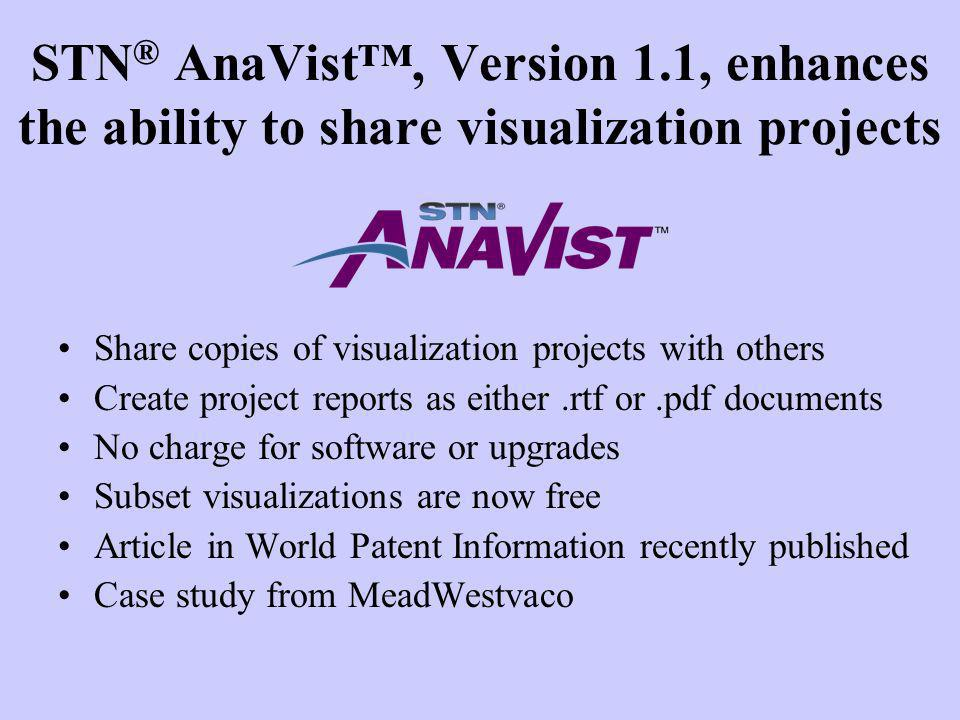 STN® AnaVist™, Version 1.1, enhances the ability to share visualization projects