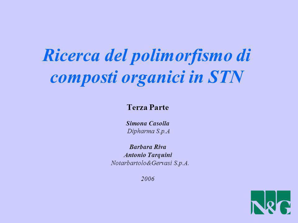 Ricerca del polimorfismo di composti organici in STN