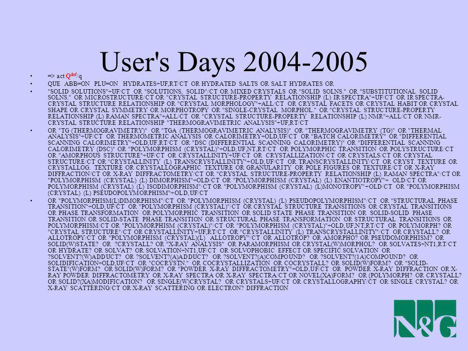 User s Days => act Qdef/q