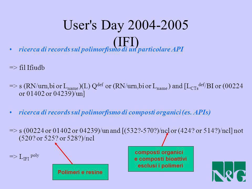 User s Day 2004-2005 (IFI) ricerca di records sul polimorfismo di un particolare API. => fil Ifiudb.