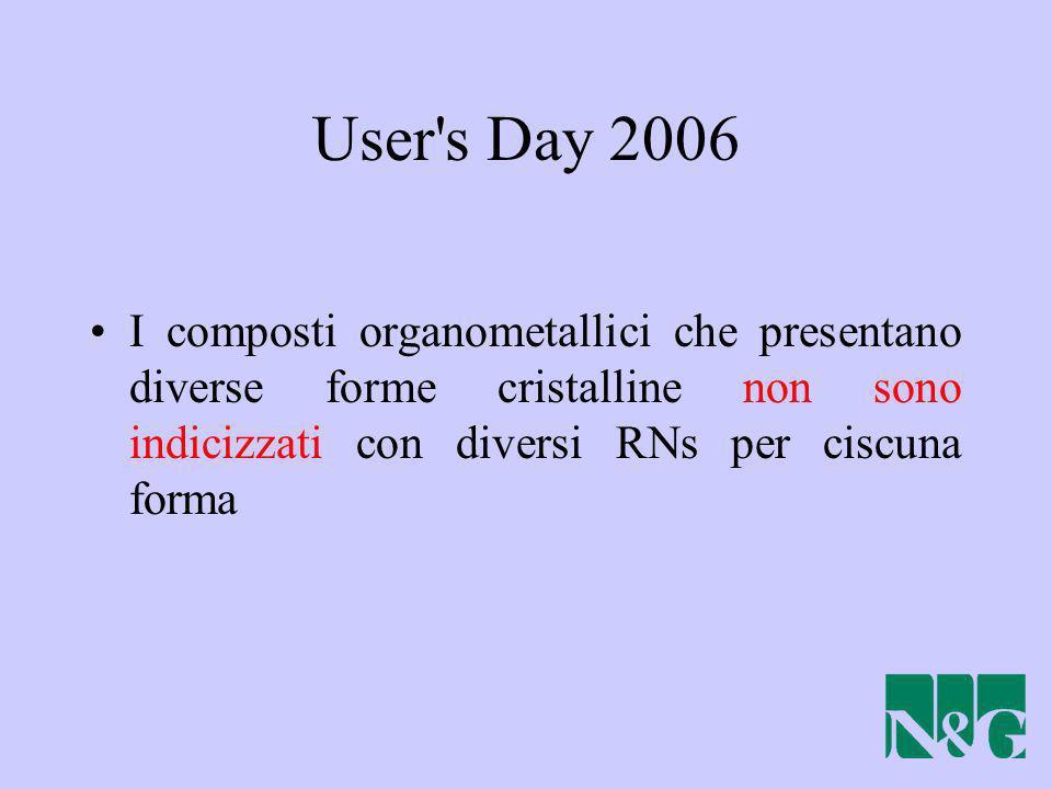 User s Day 2006 I composti organometallici che presentano diverse forme cristalline non sono indicizzati con diversi RNs per ciscuna forma.