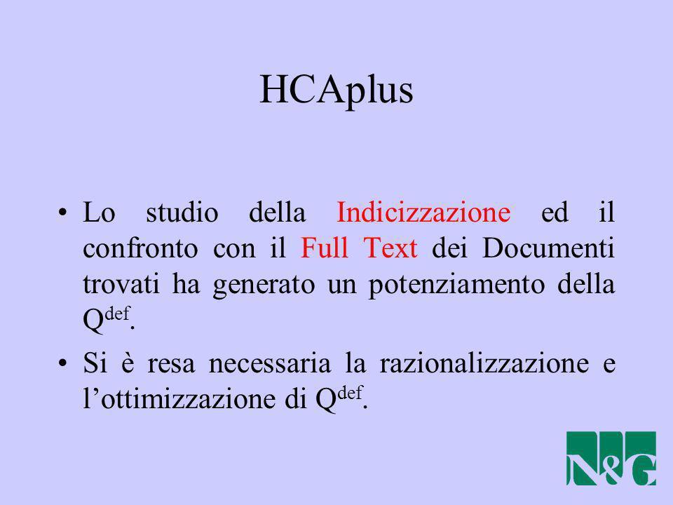 HCAplus Lo studio della Indicizzazione ed il confronto con il Full Text dei Documenti trovati ha generato un potenziamento della Qdef.
