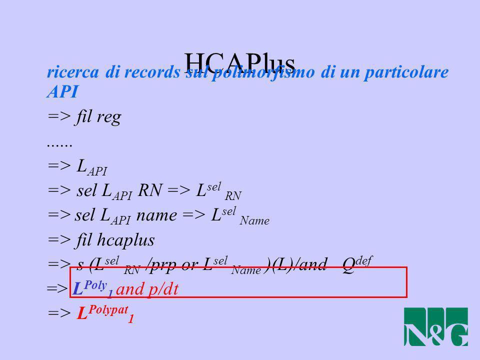 HCAPlus ricerca di records sul polimorfismo di un particolare API