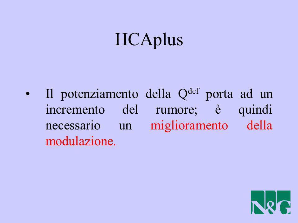 HCAplus Il potenziamento della Qdef porta ad un incremento del rumore; è quindi necessario un miglioramento della modulazione.