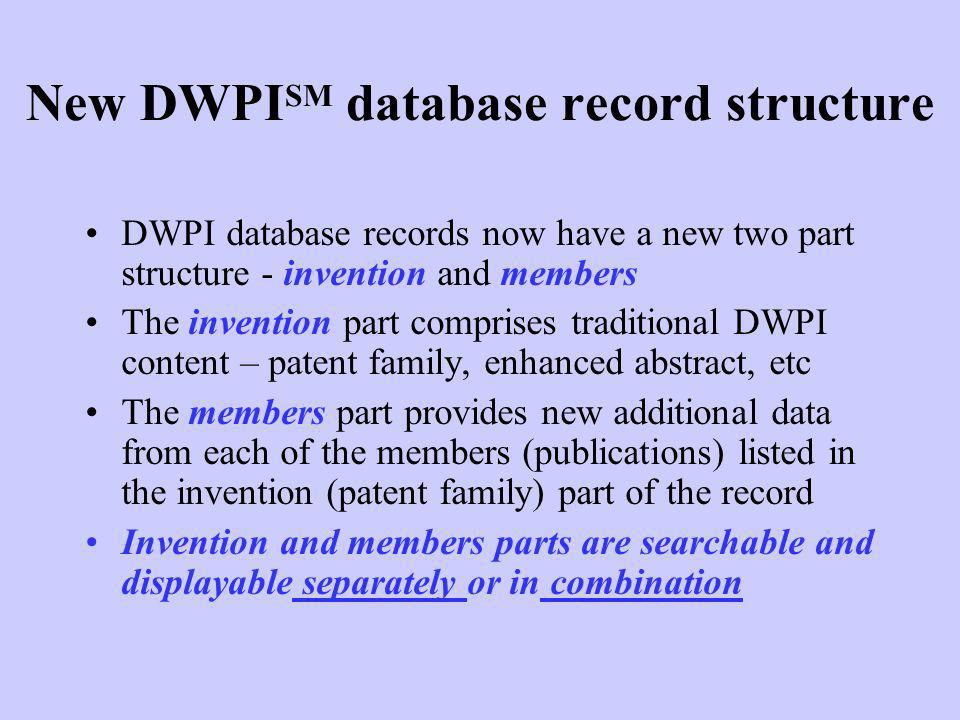 New DWPISM database record structure