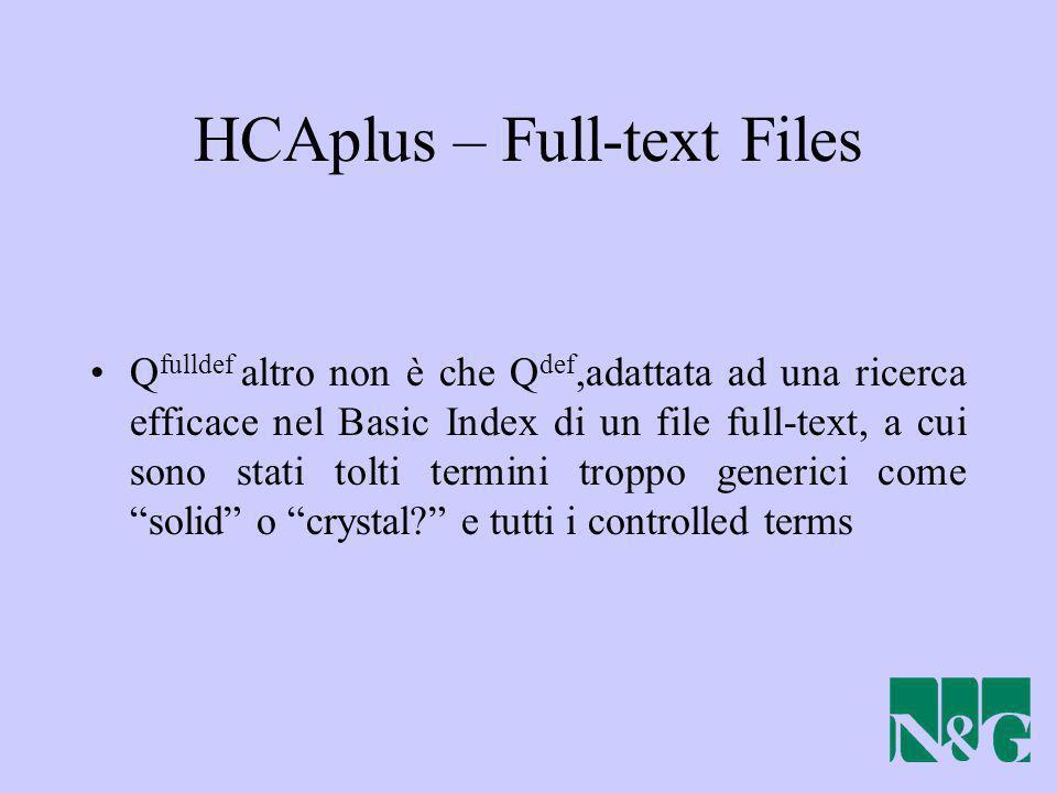 HCAplus – Full-text Files