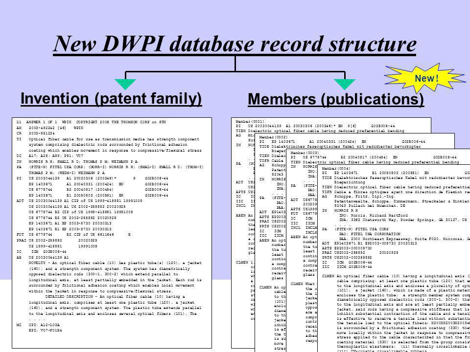 New DWPI database record structure