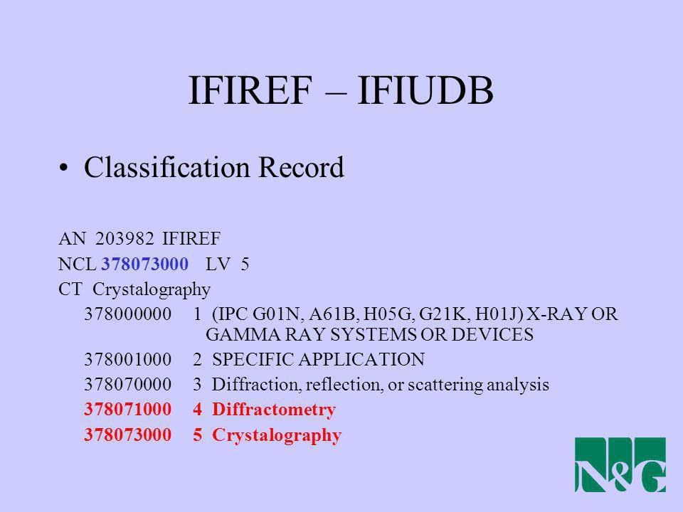 IFIREF – IFIUDB Classification Record AN 203982 IFIREF