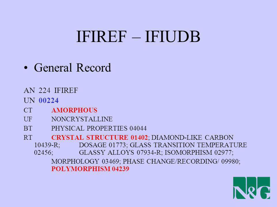 IFIREF – IFIUDB General Record AN 224 IFIREF UN 00224 CT AMORPHOUS