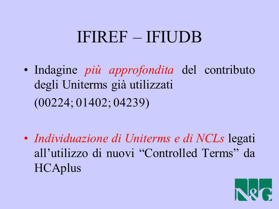 IFIREF – IFIUDB Indagine più approfondita del contributo degli Uniterms già utilizzati. (00224; 01402; 04239)