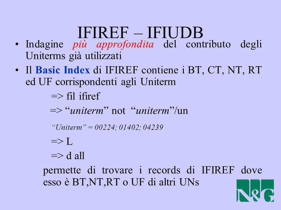 IFIREF – IFIUDB Indagine più approfondita del contributo degli Uniterms già utilizzati.