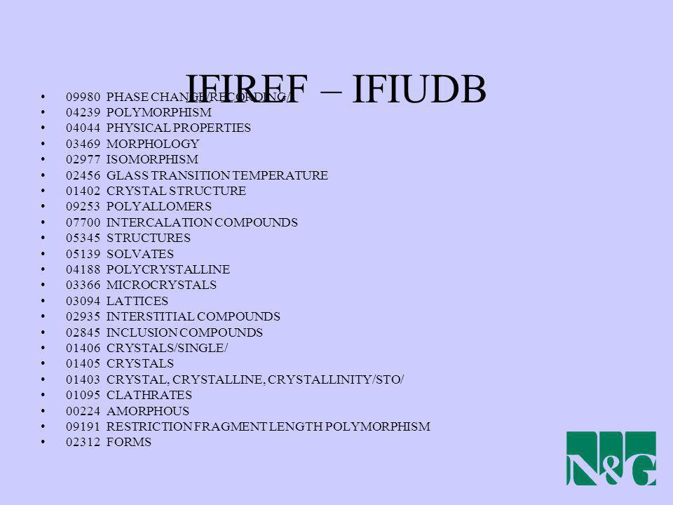 IFIREF – IFIUDB 09980 PHASE CHANGE/RECORDING/ 04239 POLYMORPHISM