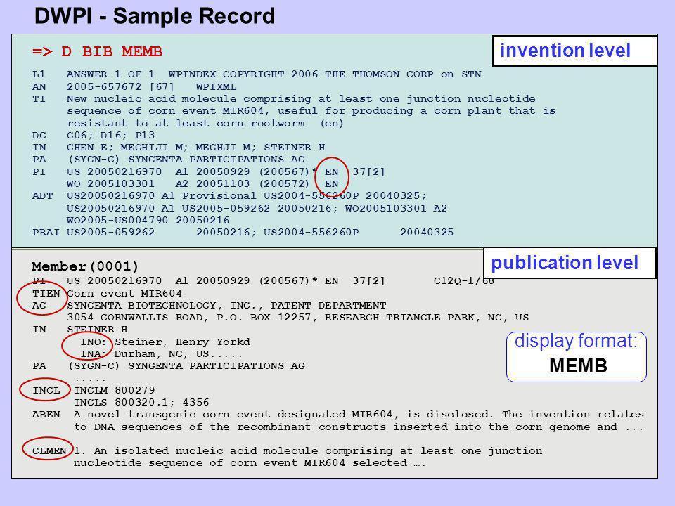 DWPI - Sample Record invention level publication level display format: