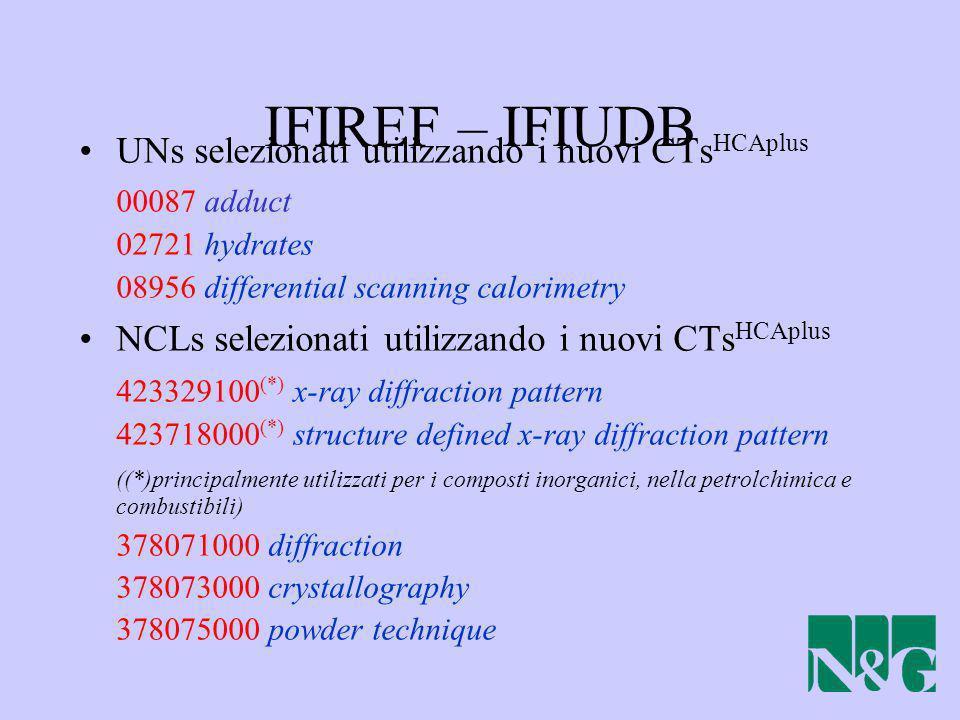 IFIREF – IFIUDB UNs selezionati utilizzando i nuovi CTsHCAplus