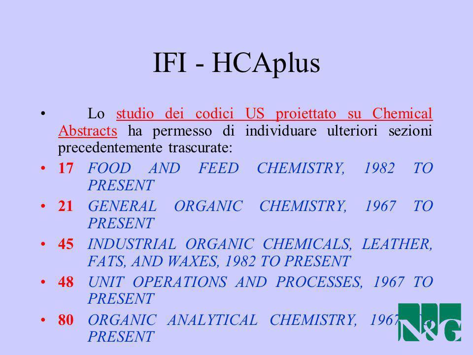 IFI - HCAplus Lo studio dei codici US proiettato su Chemical Abstracts ha permesso di individuare ulteriori sezioni precedentemente trascurate: