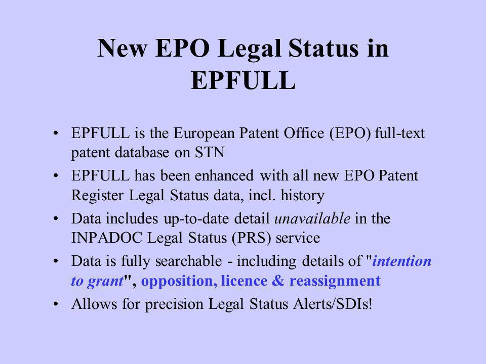 New EPO Legal Status in EPFULL
