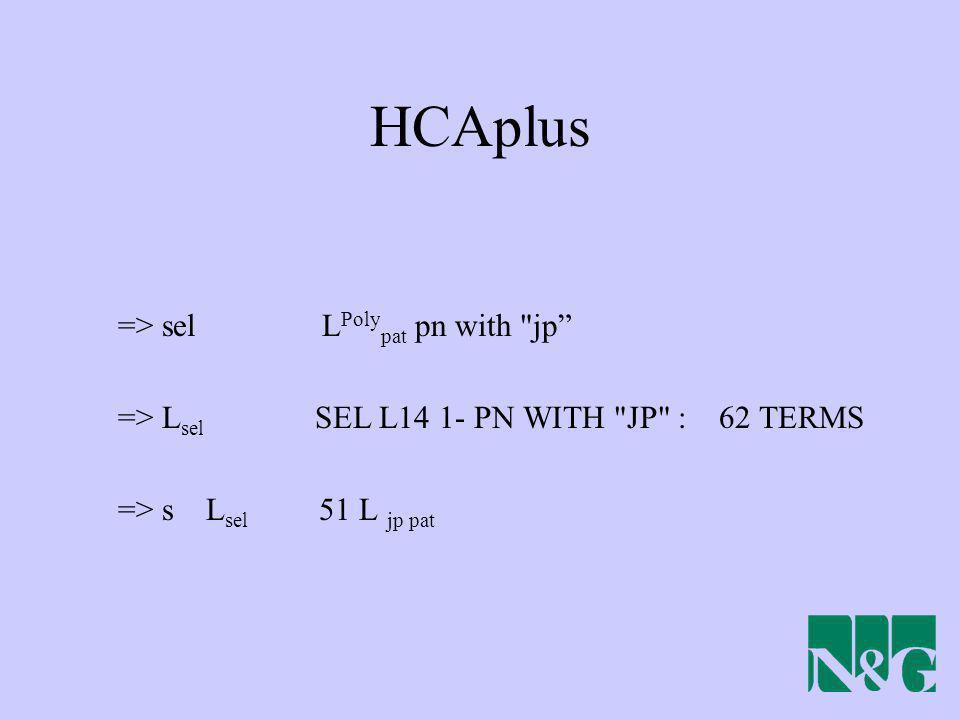HCAplus => sel LPolypat pn with jp