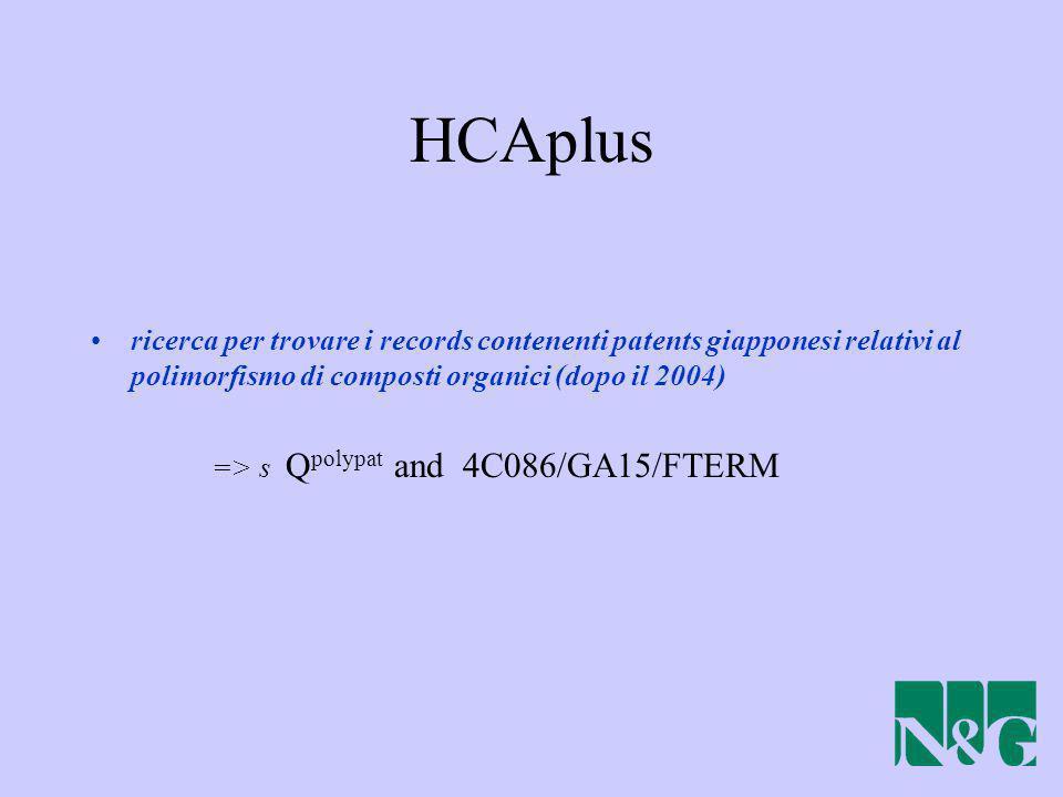 HCAplus ricerca per trovare i records contenenti patents giapponesi relativi al polimorfismo di composti organici (dopo il 2004)