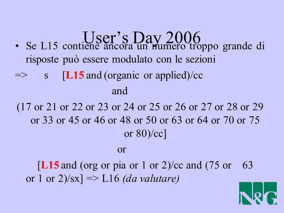 User's Day 2006 Se L15 contiene ancora un numero troppo grande di risposte può essere modulato con le sezioni.