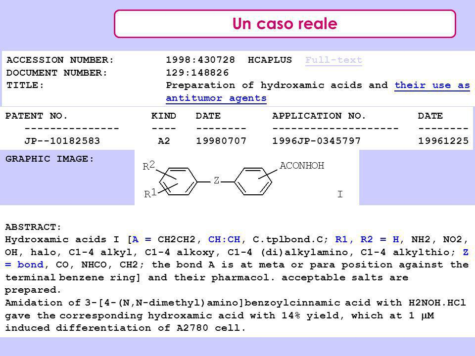 Un caso reale ACCESSION NUMBER: 1998: HCAPLUS Full-text