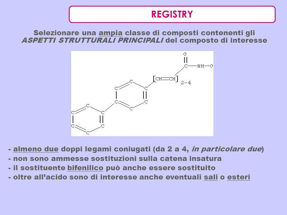 REGISTRY Selezionare una ampia classe di composti contenenti gli ASPETTI STRUTTURALI PRINCIPALI del composto di interesse.