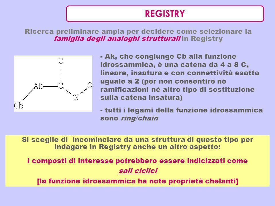 REGISTRY Ricerca preliminare ampia per decidere come selezionare la famiglia degli analoghi strutturali in Registry.