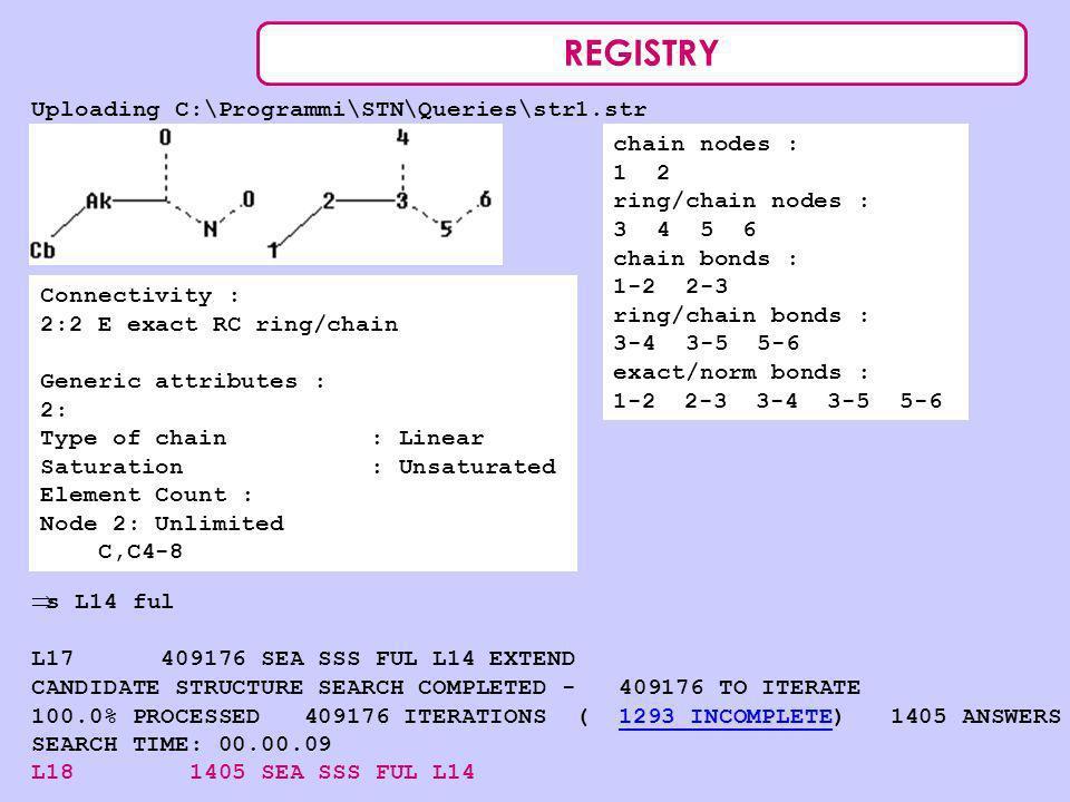 REGISTRY Uploading C:\Programmi\STN\Queries\str1.str chain nodes : 1 2