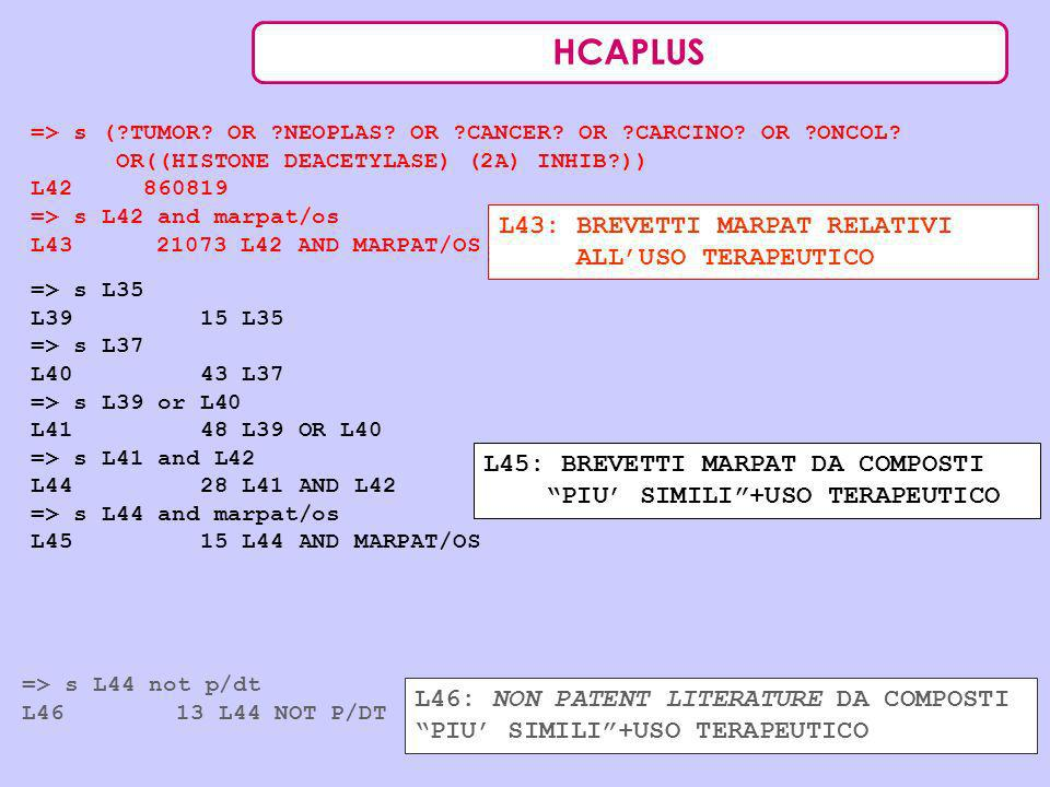 HCAPLUS L43: BREVETTI MARPAT RELATIVI ALL'USO TERAPEUTICO