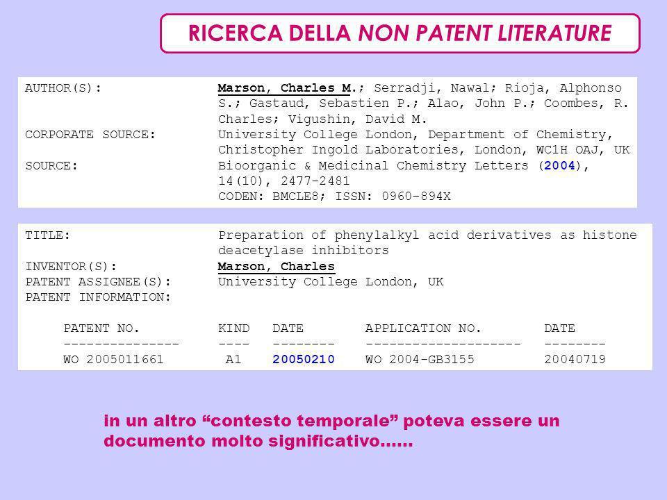 RICERCA DELLA NON PATENT LITERATURE