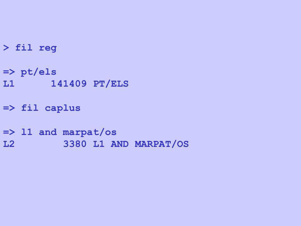 > fil reg => pt/els. L1 141409 PT/ELS. => fil caplus.