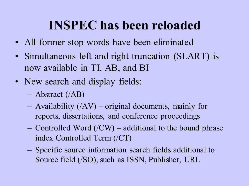 INSPEC has been reloaded
