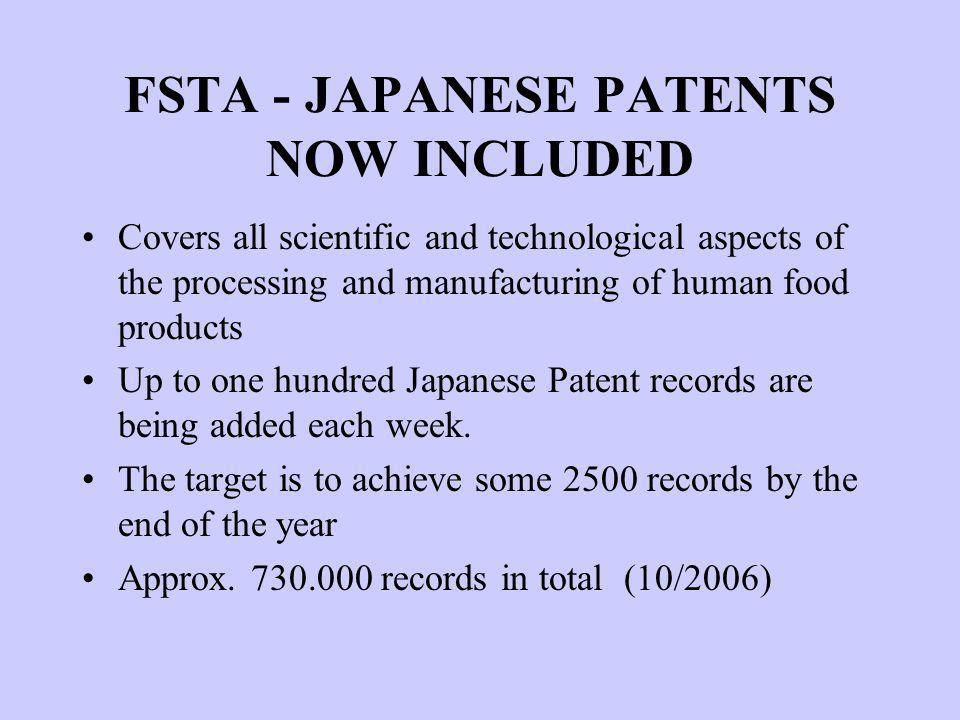 FSTA - JAPANESE PATENTS NOW INCLUDED