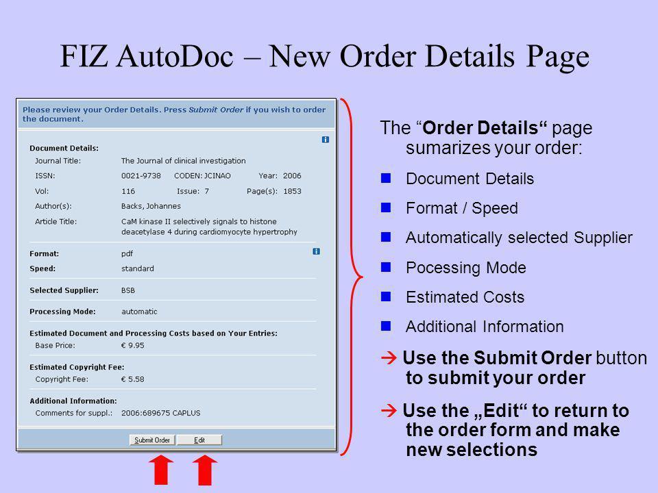 FIZ AutoDoc – New Order Details Page