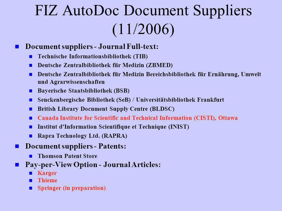 FIZ AutoDoc Document Suppliers (11/2006)