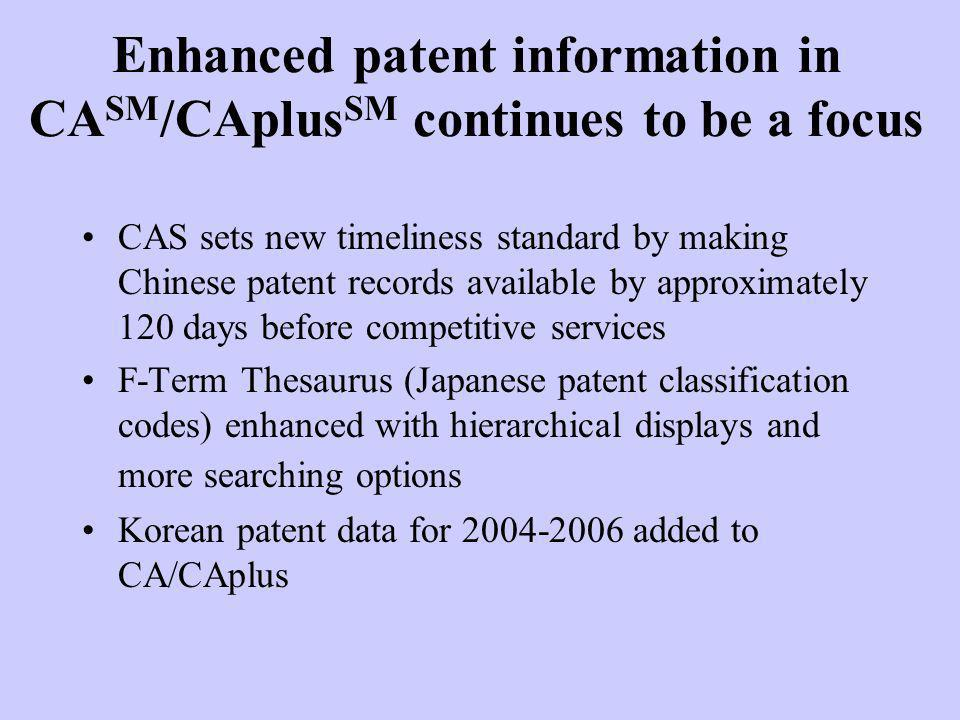 Enhanced patent information in CASM/CAplusSM continues to be a focus