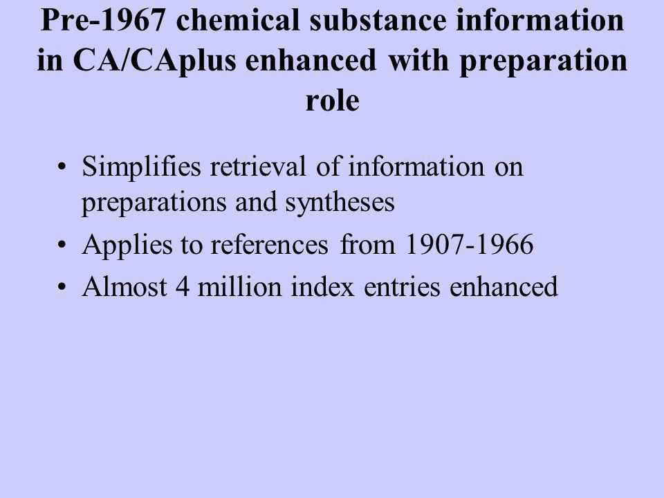 Pre-1967 chemical substance information in CA/CAplus enhanced with preparation role