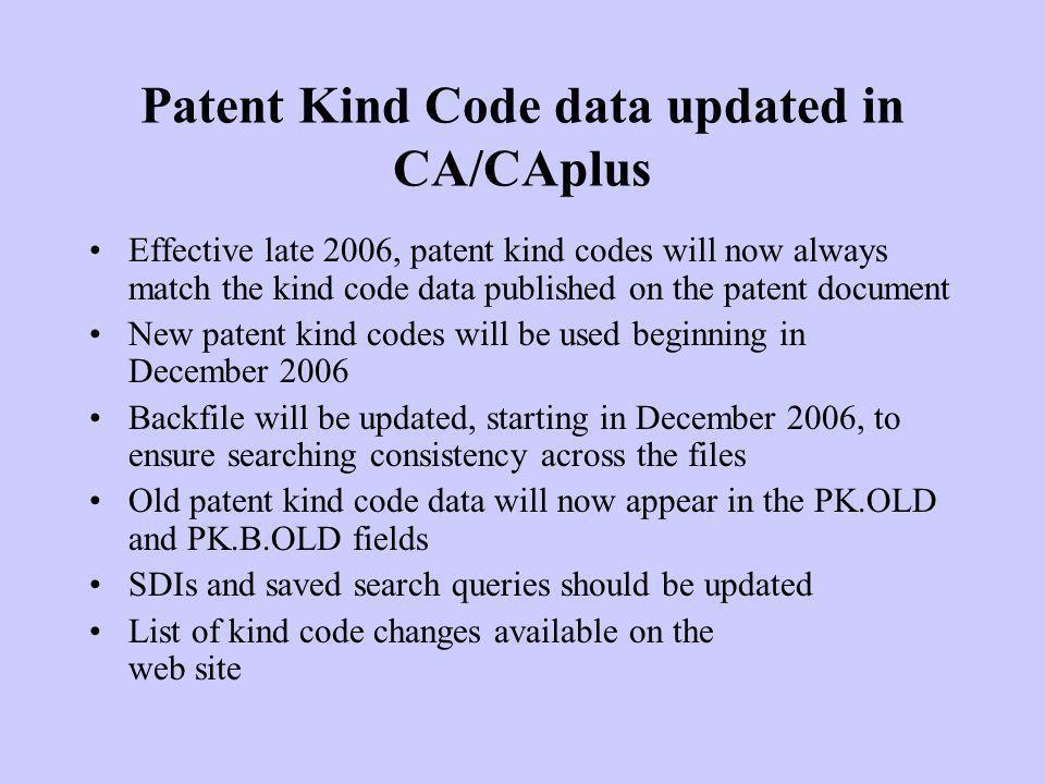 Patent Kind Code data updated in CA/CAplus