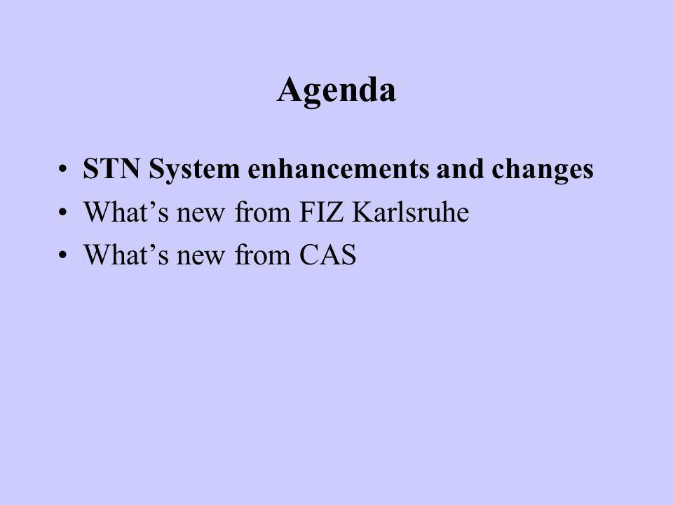 Agenda STN System enhancements and changes