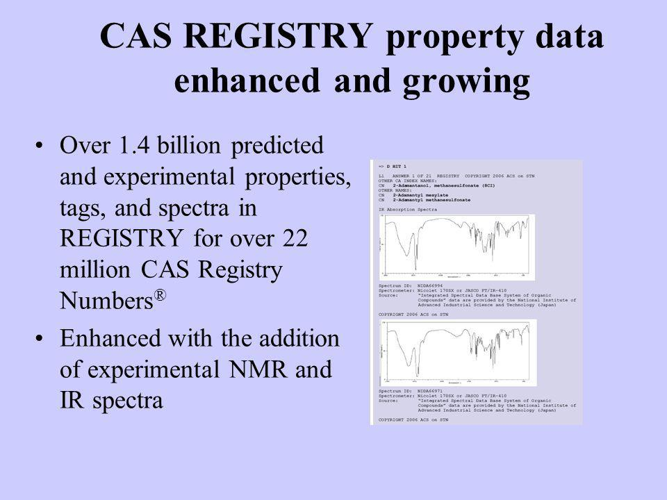 CAS REGISTRY property data enhanced and growing