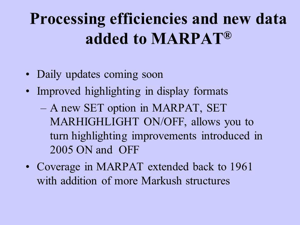 Processing efficiencies and new data added to MARPAT®