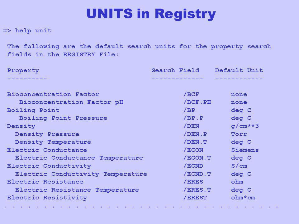 UNITS in Registry => help unit